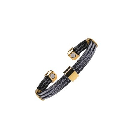 Magnetarmband Trio Cable Black Gold